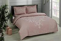 Двуспальное евро постельное белье TAC Anissa Pink Сатин