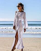 Белое кружевное платье-туника для пляжа Mistress