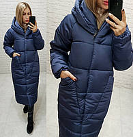 Куртка кокон длинная зима 2020 в стиле одеяло M500 синяя / синего цвета / цвет тёмно синий