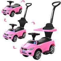 Каталка толокар для детей с родительской ручкой Bambi BMW M 3503В-8 (MP3) Pink