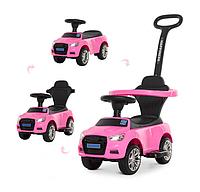 Каталка толокар для детей с родительской ручкой Bambi Audi M 3503A-8 (MP3) Pink