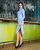 Тепле в'язане плаття міді з хомутом і розрізами, розміри: S, M, L, кольори - блакитний, пудра., фото 6