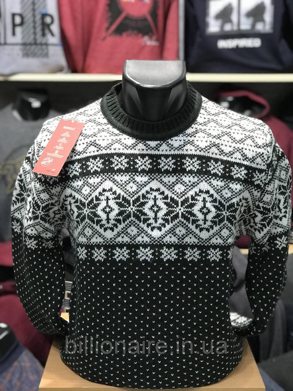 Чоловічий новорічний светр з сніжинками