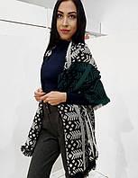 Женский шарф-палантин рогожка с этническим узором
