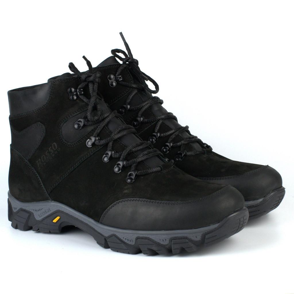 Зимові чорні черевики з нубука на овчині чоловіче взуття великий розмір Rosso Avangard Pro Lomerflex Black Nub