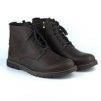 Зимние утепленные коричневые ботинки больших размеров кожаные на меху Rosso Avangard Falconi Graph Crazy Brown, фото 1