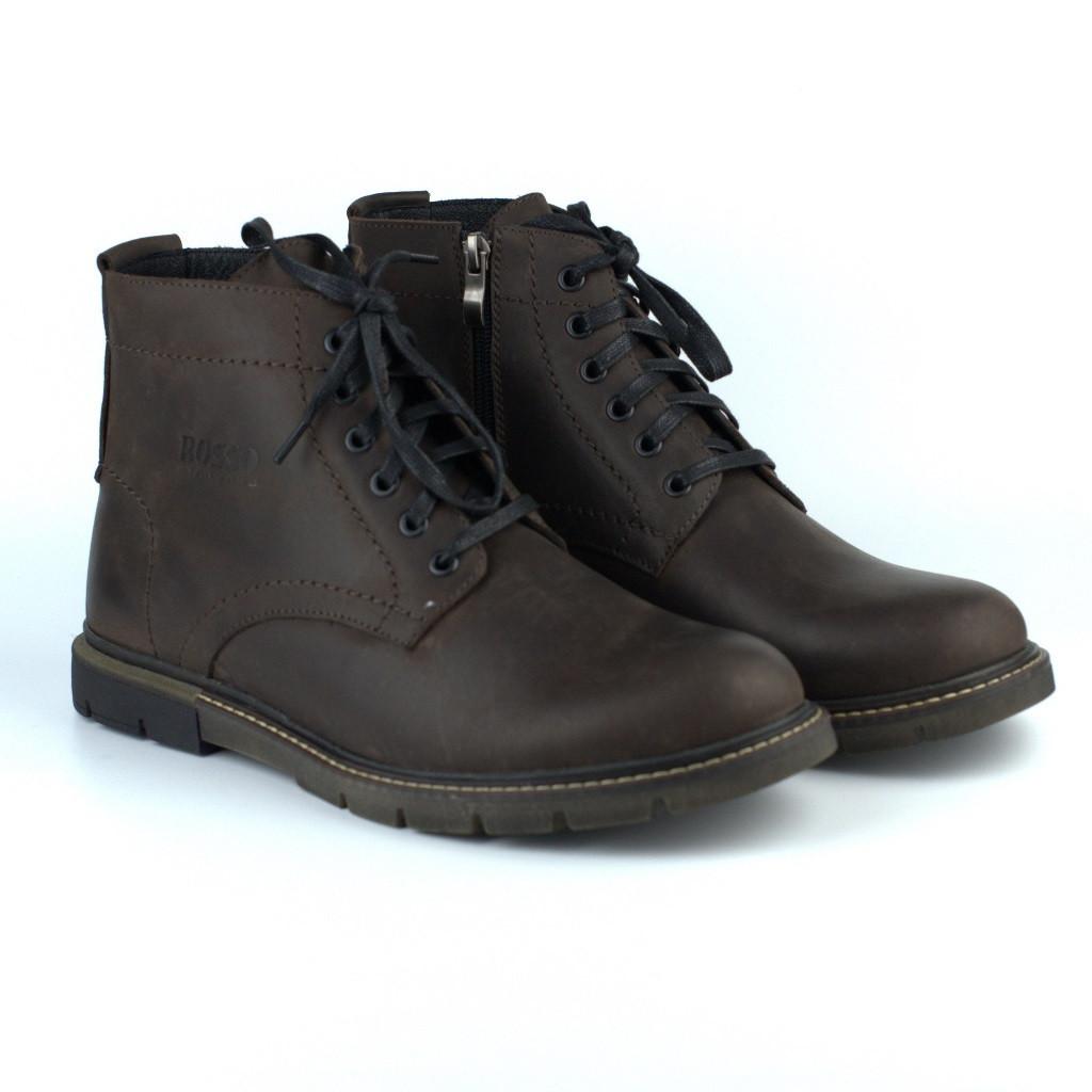 Зимние утепленные коричневые ботинки больших размеров кожаные на меху Rosso Avangard Falconi Graph Crazy Brown