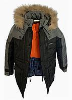 Черная теплая куртка из плащевки на мальчика на зиму с серыми вставками, 38 - 44