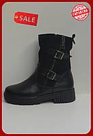 Ботинки женские черные кожаные с замшой полусапожки кожаные теплые зимние на маленьком каблуке