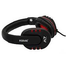 Игровые наушники с микрофоном 3,5 мм. геймерские для компьютера игр ПК KOMC A7 красные, фото 2
