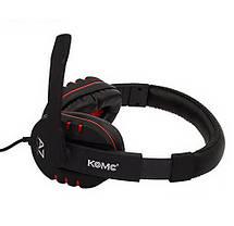 Игровые наушники с микрофоном 3,5 мм. геймерские для компьютера игр ПК KOMC A7 красные, фото 3