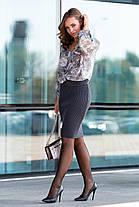 Женская вязаная юбка миди цвет Чайное дерево Размер oversize 44-48, фото 3