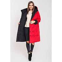 Женская, зимняя, двусторонняя куртка Джени, цвет красный + чёрный, р.52,54