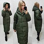 Пуховик довгий зима 2020 в стилі ковдру M500 темно сірий / зелений хакі