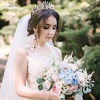 Свадебная корона на голову диадема для невесты, тиара золотого цвета с бусин