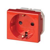 Механизм розетки с заземлением и шторками, красный, DKC 76482R