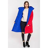 Женская, зимняя, двусторонняя куртка Джени, цвет красный + электрик, р. 52,54