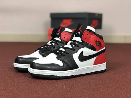 Мужские кроссовки Nike Air Jordan 1 Retro,белые с черным, фото 2