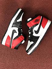 Мужские кроссовки Nike Air Jordan 1 Retro,белые с черным, фото 3