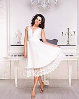 Нарядное короткое молочное платье с кружевом (L)