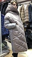 Ультрамодный длинный oversize пуховик одеяло на био-пухе, фото 1