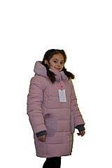 """Теплое зимнее пальто для девочки """"Сердечки"""" цвета пудра оптом и в розницу"""