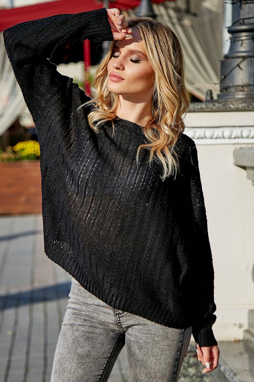 Женский чёрный свитер, р.42-50, вязка