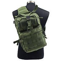 Штурмовой Тактический Рюкзак однолямочный Военный 20 литров | Зеленый