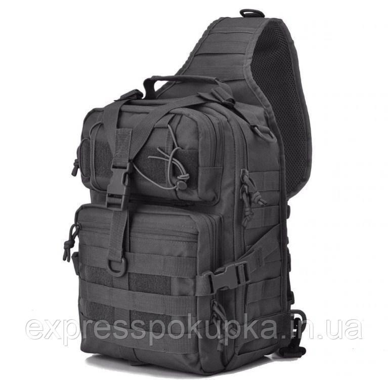 Штурмовой Тактический Рюкзак однолямочный Военный 20 литров | Черный