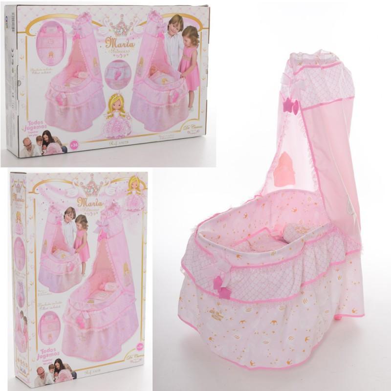 Кроватка 51028 для куклы, одеяло, подушка, балдахин, 37-60-100см DeCuevas