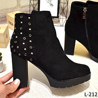 40 р. Ботинки женские деми черные замшевые на высоком каблуке, демисезонные, из замши, замша, фото 1