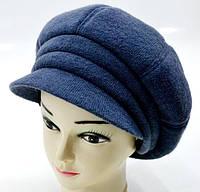 """Вовняні жіночі шапки """"Кепка БОЦА"""" (синя), фото 1"""