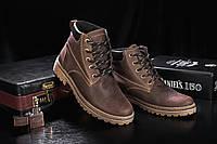 Ботинки мужские Yuves 444 коричневые-матовые (натуральная кожа, зима), фото 1