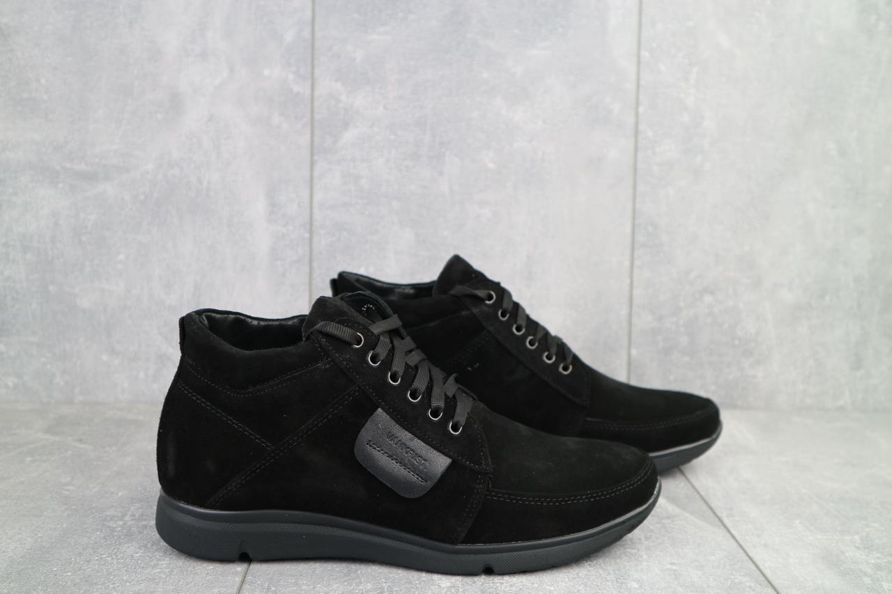 Ботинки мужские Vankristi 940 черные (замша, зима)