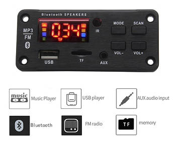 Mp3 модуль с bluetooth 5.0, FM радио, USB, microSD, модель JQ-D022BT