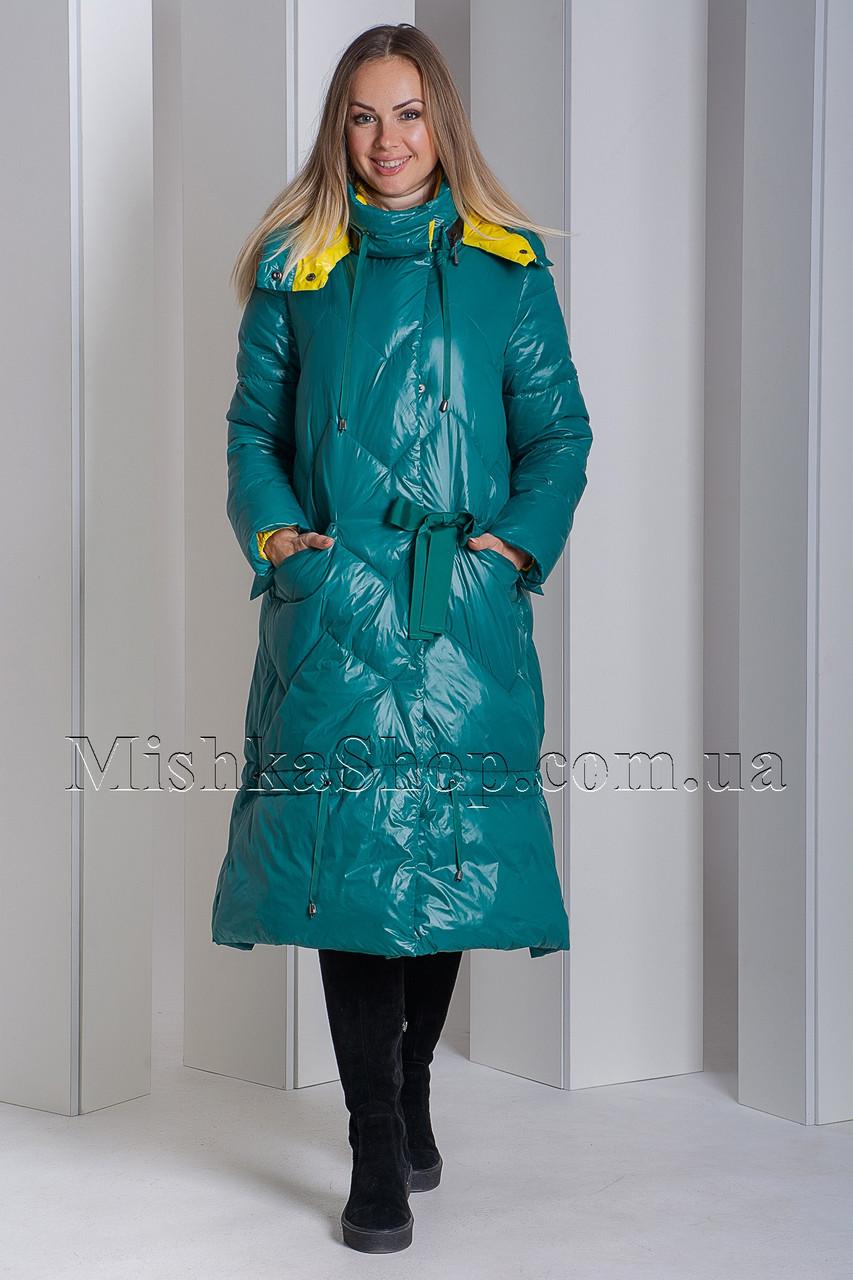 Оригинальный женственный пуховик зелёного цвета Boruoss 3518