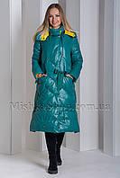Оригинальный женственный пуховик зелёного цвета Boruoss 3518, фото 1