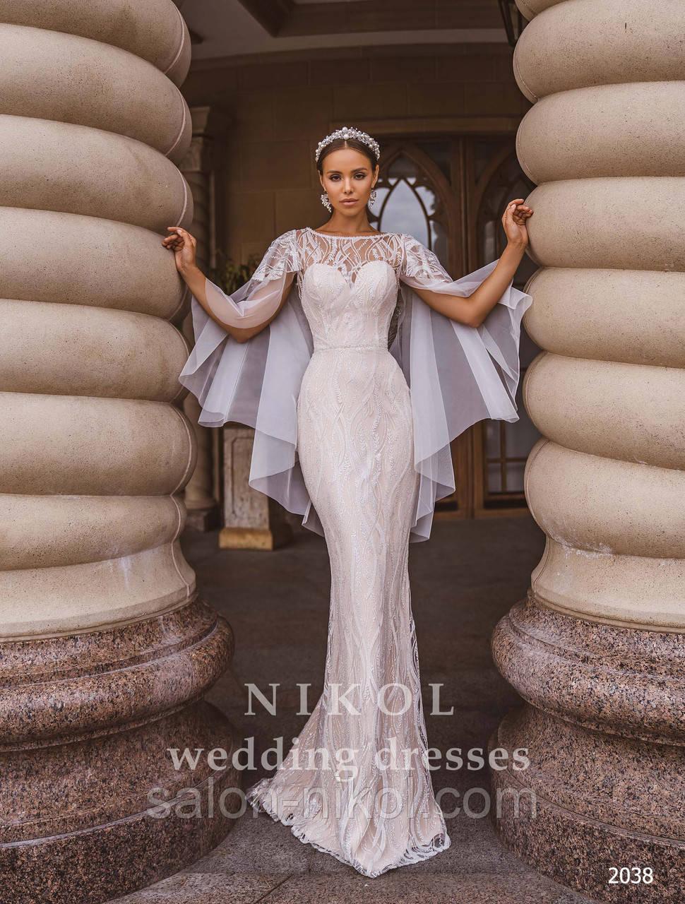 Свадебное платье № 2038 в наличии с длинным кружевным рукавом