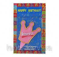 """Свеча """"корона"""" розовая с надписью """"princess"""" для украшения торта"""