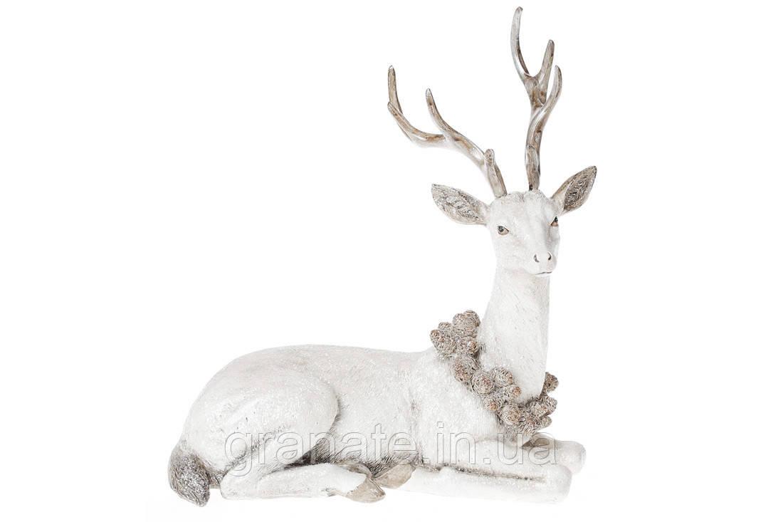 Декоративная фигура статуэтка Олень 21.5 см, цвет - белый
