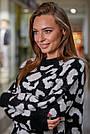 Женский свитер с леопардовым принтом оверсайз, р.42-50, вязка, чёрный, фото 2