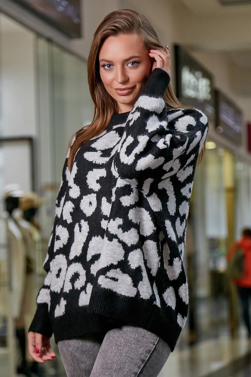 Женский свитер с леопардовым принтом оверсайз, р.42-50, вязка, чёрный