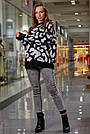 Женский свитер с леопардовым принтом оверсайз, р.42-50, вязка, чёрный, фото 3
