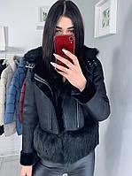 Женская эко-дубленка Zara черная S M L Xl