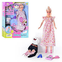 Кукла DEFA   беременная, с одеждой, 2 ребенка, аксессуары, в кор-ке, 32,5-23,5-6см