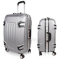 Стильный пластиковый чемодан на колесах, ручная кладь, серый комплект , фото 1