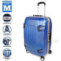 Стильный пластиковый чемодан на колесах, синий, фото 1