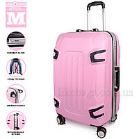 Стильный пластиковый чемодан на колесах, розовый
