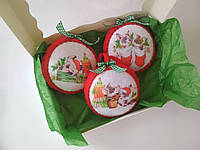 Набір ялинкових іграшок Кулі з поросятами 3 шт. SUN2422, КОД: 258224