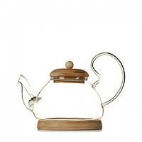 Заварочный чайник Leshko с крышкой и подставкой из бамбука 700 мл 6374638L6818, КОД: 1150848